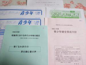 青少年問題協議会 配布資料の一部。 青少年健全育成方針についても報告がありました。